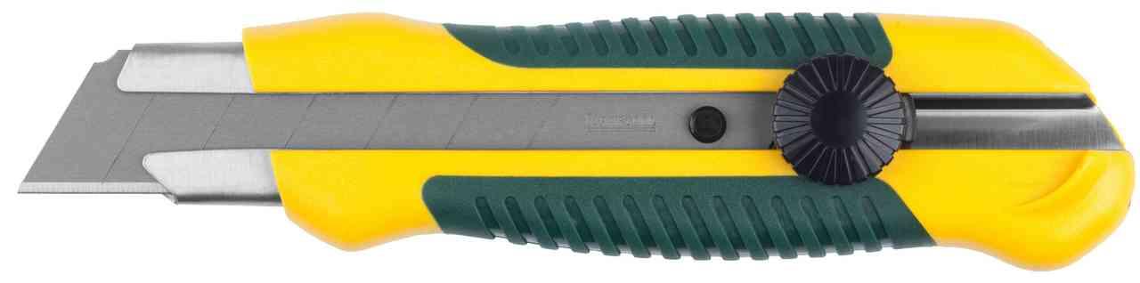 Нож KRAFTOOL с сегментированным лезвием, двухкомпонентный корпус, механичес